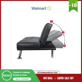 """Sofa giường Smilemart giả da hiện đại có giá đỡ và gối, màu đen"""""""