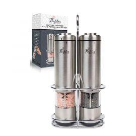 Bộ máy xay muối và hạt tiêu Flafster Kitchen hoạt động bằng pin, thép không gỉ, có đèn và điều chỉnh độ thô!