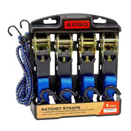 Bộ tăng đơ Ratchet Tie Down Straps - 4 Pk - 15 Ft- 500 Lbs Load Cap- 1500 Lb Break Strength- Cambuckle Alternative- Cargo Straps for Moving Appliances, Lawn Equipment, Motorcycle - Includes 2 Bungee Cord